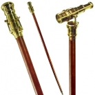 Walking Stick Cane with Telescope, solid brass, rosewood, magnification x 3, Dimensions: l 98.5 x Ø 5 cm