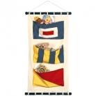 Décoration murale avec 3 poches,pavillon W/G/S, toile de voile, avec baguettes et cordon d'accroche, dimensions: h 77x l 44cm