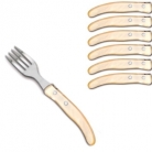 Laguiole Berlingot pastry forks Naturel, set of 6 in box, acrylic handles, color: Naturel, Dimensions: l 17. 5 cm l 17.5 cm