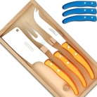 Laguiole Berlingot cheese knives, set of 3 in box, color: Azur, Dimensions: l 29 cm