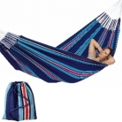 Hammock Cur-Ambera, blue, 100% cotton, load 160 kg, total l 360 cm, lying surface 240 x 160 cm, incl. bag of same fabric