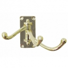 Wall Hook, triple, solid polished brass, hinged, 3 brackets, Dimensions: h 7.5 x w 4 x d 9.5 cm