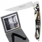 Exklusives Thiers Taschenmesser in Geschenkbox, mit Arretiermechanik und einlaminierten echten Hornflakes, Maße: Heft L 13,5 cm, Klinge 10 cm