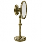 Make-up mirror Belle Époque, antique brass, 2 mirrors, h 33 x Ø top 12.5, Ø foot 9 cm