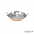 de Buyer, Gratin Pan, round 90% copper, 10% stainless steel, solid brass handles, Ø 12 x h 2.0 cm