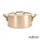 de Buyer, Pot Cocotte with handles and lid, 90% copper, 10% stainless steel, solid brass handles, Ø 20 x h 10 cm, 3.5 l