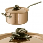 Ruffoni Opus Cupra Casserole with lid, copper, hammered and polished/stainless steel, handles and lid knob solid brass silver plated, theme articoke/carrot, Ø 20 x h 11 cm