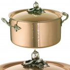 Ruffoni Opus Cupra Stock Pot with lid, high, copper, hammered and polished/stainless steel, handles and lid knob solid brass silver plated, theme pepper/cucumber/bean, Ø 26 x h 14.5 cm