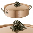 Ruffoni Opus Cupra Stock Pot with lid, low, copper, hammered and polished/stainless steel, handles and lid knob solid brass silver plated, theme tomato/pepper/peas, Ø 30 x h 9.5 cm