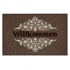 Doormat Willkommen Ornament, anti slip back, easy-care, machine washable at 40° C, l 75 x w 50 cm