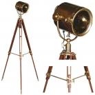 Eichholtz Stativ Stehlampe Suchscheinwerfer, bronziertes Messing/Glas, mit mahagonifarbigem Holzstativ und Messing antik Beschlägen, H 180 x D 65 cm