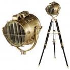 Eichholtz Stativ Stehlampe Morse-Scheinwerfer Atlantic, Messing antik/Holzstativ braun, H 91-142 x Ø Fuß 100 cm