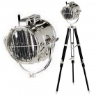 Eichholtz Tripod Lamp Morse-Spotlight Atlantic, shiny nickel/tripod wood black, h 91-142 x Ø foot 100 cm