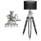 Eichholtz Tripod Lamp with chintz shade, black, polished aluminium/black wooden tripod, max. h 220 x Ø foot 100, Ø shade 70 cm