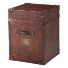 Eichholtz Koffertisch, lederbezogen, Tabak/Messing antik, H 60 x B 45 x T 45 cm