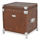 Eichholtz Trunk Table, leather tapestried, with feet, brown/nickle, h 60 x w 57 x d 50 cm