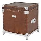 Eichholtz Koffertisch, lederbezogen, mit Füßen, Braun/Nickel, H 60 x B 57 x T 50 cm