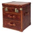 Eichholtz Koffertisch, lederbezogen, mit 2 Schubladen, Kupfer/Messing antik, H 60 x B 54 x T 49 cm