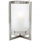 Eichholtz Windlicht Hurricane Beluga L, Nickel/Mattglas, B 36 x T 36 x H 46 cm, Glas Ø 22 cm