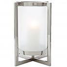 Eichholtz Windlicht Hurricane Beluga S, Nickel/Mattglas, B 30 x T 30 x H 36 cm, Glas Ø 16 cm