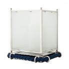 Eichholtz Windlicht Hurricane Lauderdale S, Nickel/Glas/Kordel blau, H 40 x Ø 30 cm
