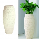Fleur Ami Vase/Planter Welcome, Polystone with word reliefs Welcome in 21 languages, h 90 x Ø 39 cm, natural