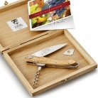 Laguiole Sommelier Gerard Depardieu corkscrew waiter´s knife in oak wood box, with conical spiral, l 11 cm, Olivewood handle