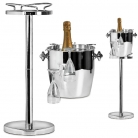 Edzard Champagne-Cooler/Wine-Cooler Geneva with stand, 2 handles, glass holders, polished stainless steel, stand h 85 x Ø 23 cm, cooler h 23 x Ø 25 cm