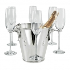 Edzard Champagne-Cooler/Wine-Cooler Calo with 6 glass holders, shiny QualiPlated® with silver, h 21 x Ø 22 cm