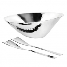 Edzard Salad Bowl Rio with Salad Servers Gingko, polished and hammered stainless steel, h 16 x Ø 34 cm