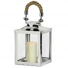 Edzard Lantern/Windlight Princeton, polished stainless steel/glass/rope, h 30 x w 22 x d 22 cm