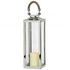 Edzard Lantern/Windlight Princeton, polished stainless steel/glass/rope, h 56 x w 22 x d 22 cm