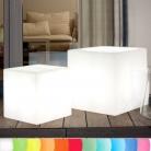 8-Seasons-Design-Leuchtobjekt, Würfel, Weiß, L 43 x B 43 x H 43 cm, Indoor/Outdoor, LED-Farbw./Fernbed., CE IP44, Netzstecker, 5 m Kabel