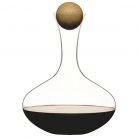 Sagaform Red Wine Carafe/Decanter, oak wood stopper, crystal glass, h 27 cm, capacity 2 l