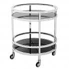 Eichholtz Side Table, Trolley Dakota, polished stainless steel/black glass, 4 wheels, two decks, h 69 x Ø 60 cm