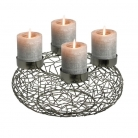 Edzard Advent Wreath Milano, shiny nickel plated, titanium look, h 12 x Ø 34 cm, candle holder Ø 8.5 cm