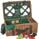 Picnic-Basket Premium for 4 people, tanned wicker/leather/cotton, fully equipped, l 62 x w 32 x h 23 cm
