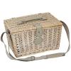 Picknick-Korb France für 2 Personen, Weide patiniert/Leder/Leinen, voll ausgestattet, L 40 x B 28 x H 23 cm