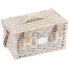 Picknick-Korb Happiness für 2 Personen, Weide patiniert/Leinen, voll ausgestattet, L 40 x B 28 x H 23 cm