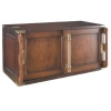 Shelf System Library Brown, antique design shelf element, high, 2 doors, brass handles, cherry, birch, maple, Dimensions: l 80 x h 44 x d 39 cm