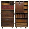 Stateroom Trunk Secretaire, fold out, with wheels, antique design, ivory, brass hardware, h 130 x w 60 x d 50 cm