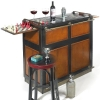 Casablanca-Bar with hidden wheels, antique design, black, glass top, 2 pull out game boards, Brass hardware, h 110.5 x w 104 x d 52 cm