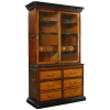 Cambridge Cabinet, antique design, bicolor black/honey, 2 glass doors, 6 drawers, 2 pull out boards, bronze hardware, h 205.5 x w 122.5 x d 54 cm