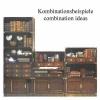 Library Marron, design antique élément socle, bois massif avec tôle en laiton, dimensions:L 80 x h 8,5 x l 33 cm