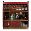 Casablanca-Bar with hidden wheels, antique design, red, glass top, 2 pull out game boards, Brass hardware, h 110.5 x w 104 x d 52 cm