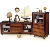 Royal Navy Console high with wheels, antique design, bicolor, black/honey, 1 glass door, 3 drawers, bronze hardware, h 131.5 x w 66.5 x d 50 cm
