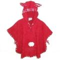 Poncho Sleepy Sheepy mit Kapuze, Farbe Rot, Baumwoll-Frotte mit Karobesatz, Größe: passend bis 3 Jahre