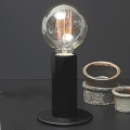 Edgar Design table lamp Sol, Black, 3-level touch dimmer, incl. spherical Edison-Lightbulb E27/40W, h 24 x Ø 11 cm