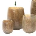 Collection DutZ® Vase Barrique, h 24 x Ø 18 cm, argent/marron avec cloques