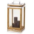 Edzard Laterne/Windlicht Huntsville, glänzend vernickelt/Glas/Holz, H 66 x B 32 x T 32 cm